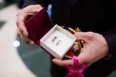 Groom holding wedding rings Stock Photos