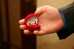 Groom holds a box with gold wedding rings close up Stock Photos