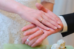 Groom holds the bride`s hand in his hand. wedding day Stock Photo