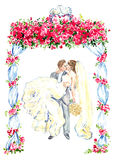The groom holds his bride in his arms and kisses under gazebo decorated with red roses and two kissing pigeons on the top. Hand painting watercolor illustration Stock Photo