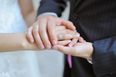 Groom holds his bride's hand Stock Photography