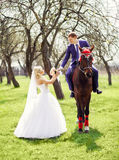 Groom on a horse gives the bride's bouquet in the spring, apple Royalty Free Stock Images