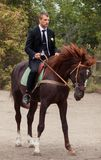 Groom on horse Royalty Free Stock Photos