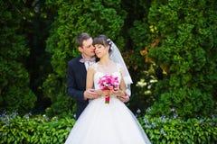 Groom hugs bride Stock Photos