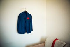 Groom jacket on  hanger Royalty Free Stock Photo