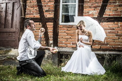 The groom is juggling potatoes Stock Images