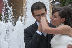 Groom kiss the hand of his bride Stock Images