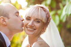 Groom kisses the bride Royalty Free Stock Photos