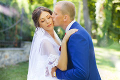 The groom kisses the bride on the cheek. Beautiful bride hugs and kisses on the cheek in nature Stock Photo