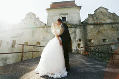 Groom kisses a bride before the entrance to the old castle Stock Photography