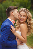 The groom kisses the bride in a green Park in the summer. Royalty Free Stock Photo