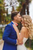 The groom kisses the bride in park in the summer. Royalty Free Stock Images