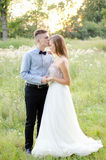 Groom kisses the bride Royalty Free Stock Photography