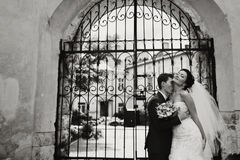 Groom kisses bride's neck holding her waist tenderly while they Royalty Free Stock Images