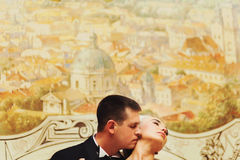 Groom kisses bride's neck standing behind a wal with paintings Stock Images