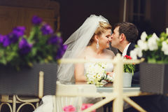 Groom kisses bride's nose at the cafe table Royalty Free Stock Images