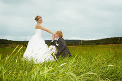 Groom kisses hand of bride in field Stock Photo