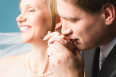 Groom kissing Royalty Free Stock Image