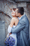 Groom kissing bride. In their wedding day outdoors Stock Photo