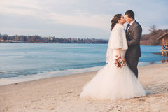 Groom kissing bride on beach Royalty Free Stock Image