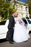 Groom kissing bride in cheek against white limousine Royalty Free Stock Photos