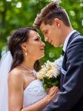 Groom kissing bride Royalty Free Stock Photos