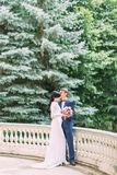 The groom is kissing the bride in the head. The outdoor full-length view. The groom is kissing the bride in the head. The outdoor full-length view Royalty Free Stock Photo