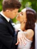 Groom kissing bride. Groom kissing bride outdoor Stock Images