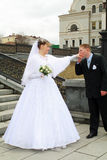 Groom kissing bride`s hand Royalty Free Stock Photo