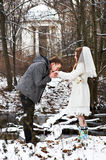 Groom kissing bride's hand in the winter woods Stock Photos