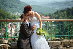 Groom kissing bride on their wedding day. Stock Photos