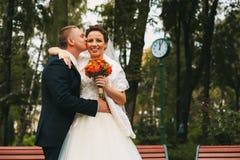 Groom kissing bride to cheek Stock Photo