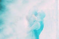Groom kissing bride in turquoise smoke. Silhouette of groom kissing bride in turquoise smoke Royalty Free Stock Image