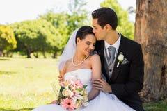 Groom kissing his beautiful bride at park Stock Image