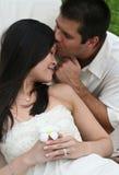 Groom kissing his bride Royalty Free Stock Photos