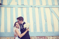 Groom kissing his bride Stock Photography