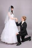 Groom kneels and holds bride hand in studio Stock Images