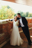 Groom leans over a bride and kiss her standing on the balcony Royalty Free Stock Image