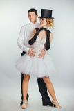 Groom lifts in arms blonde bride Royalty Free Stock Image