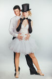 Groom lifts in arms blonde bride Stock Photography