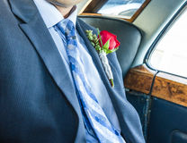 Groom in the limousine Royalty Free Stock Photos
