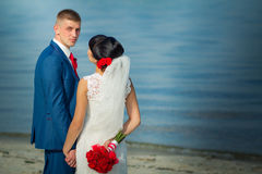 The groom are looking in the camera Royalty Free Stock Images