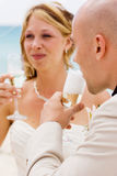 Groom looking at wife. Groom looking at his new wife with champagne and love Stock Photo