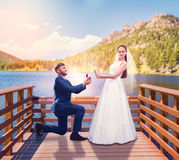 Groom makes a proposal of marriage on the pier Stock Photo