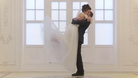 Groom meets bride stock video footage