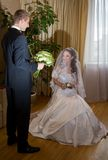 Groom meets bride Royalty Free Stock Images
