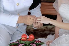 Groom newlyweds wearing ring on bride`s finger in wedding ceremony. Groom newlyweds wearing ring on bride`s finger in wedding ceremony Stock Photos