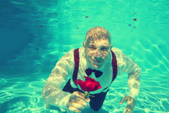 Groom offering a red rose pool water dive underwater Stock Photography