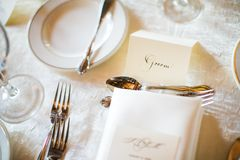 Groom place card for wedding reception Royalty Free Stock Photos