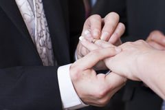 Groom placing ring on bride's finger Stock Photos